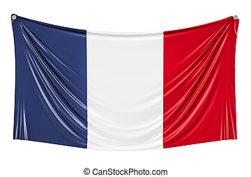 French flag hanging on the wall, 3D rendering