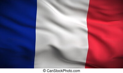 HD 1080. Highly detailed French flag ripples in the wind. Extreme detail includes fabric texture. Animation is looped for continuous playback.