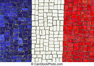 French Flag in Mosaic
