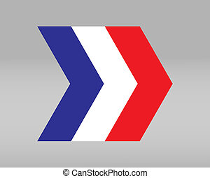 French flag in the shape of an arrow - vector