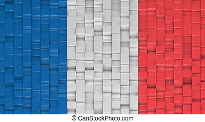 French flag made of cubes moving up and down in a random pattern.
