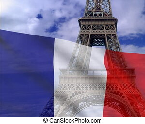 French flag on a background of the Eiffel Tower. PAL