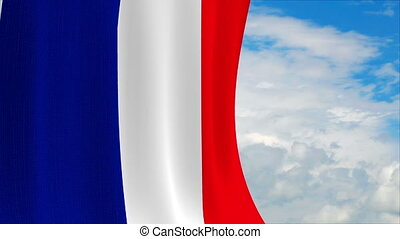 French flag on a sky background