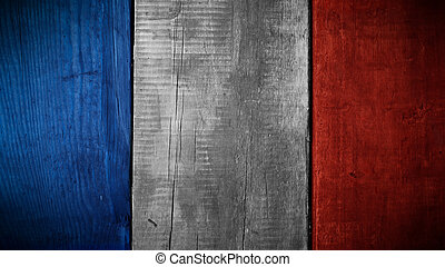 French flag on wood