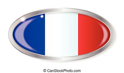 French Flag Oval Button