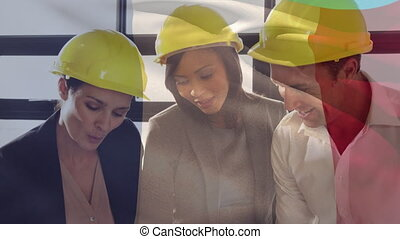 Animation of a French flag waving over construction site workers looking at blueprints in the background. Global business finance network interface concept digital composite
