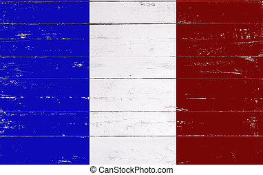 french flag painted on a wooden board