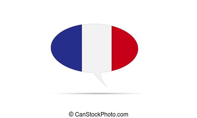 French Flag - Spinning France Flag Speech Bubble