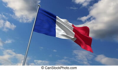 French flag waving against time-lapse clouds background