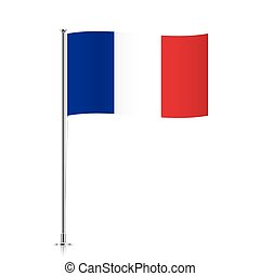 French flag waving on a metallic pole.