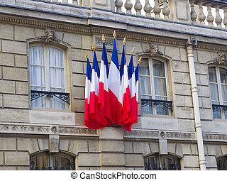 French flags at the Elysee palace residence of the French president Paris France