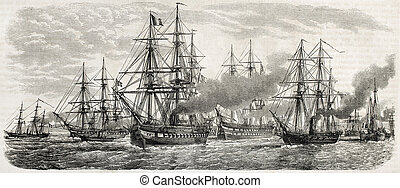 French fleet bis - French fleet in China leaving Tche-fou ...