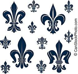 French fleur-de-lis blue heraldic symbols and flowers