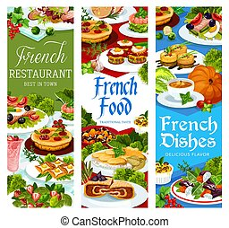 French food, France cuisine vector dishes banners - French ...