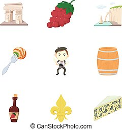 French food icons set, cartoon style