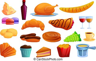 French food icons set, cartoon style