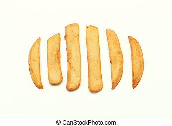 french fried on white background