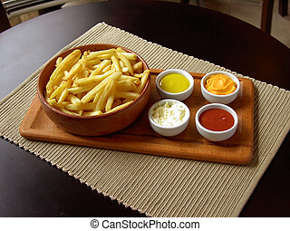 french fries - a plate of fries