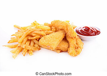 french fries and fried chicken nuggets