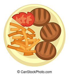 French fries and meatballs with tomato slices - Breakfast of...