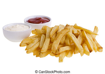 French fries and sauces isolated on white background.