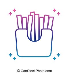 french fries box icon, gradient line style