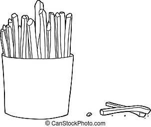 French Fries Box Outline - Hand drawn illustration of french...