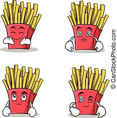 french fries cartoon character set collection