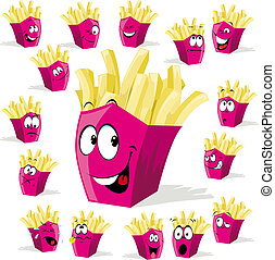 french fries cartoon illustration with many expressions