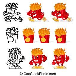 French fries cartoon set