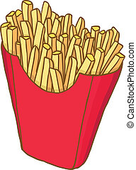 French fries - Painted french fries, vector illustration