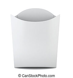 French fries container. 3d illustration on white background