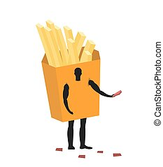 French fries costume man mascot promoter. Male in suit potato distributes flyers. Puppets food engaged in advertising goods