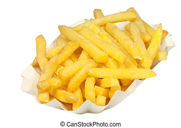 French Fries - Crunchy french fries in a paper bowl -...