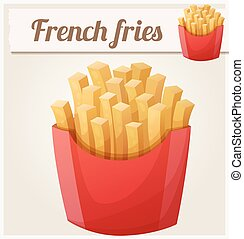 French fries. Detailed vector icon. Series of food and drink...