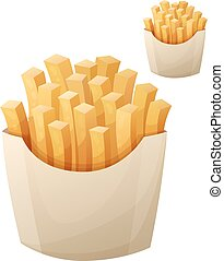 French fries. Detailed vector icon isolated on white...