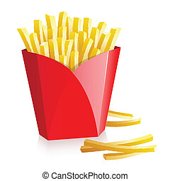 French fries in a red box