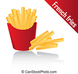 french fries with shadow over white background. vector...