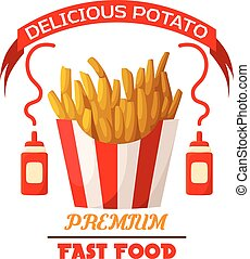 French fries fast food fried potato vector icon - French...