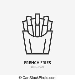 French fries flat line icon. Vector thin sign of fast food, cafe logo. Fried potato illustration for restaurant menu