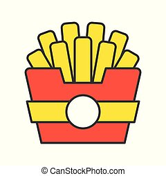 french fries, food and gastronomy set, filled outline icon