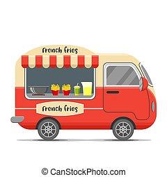 French fries food vector caravan trailer