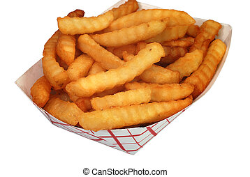 French Fries - French fries in basket isolated on white...