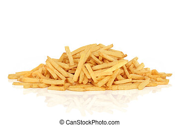 French Fries - French fries, isolated over white background...