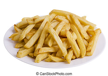 French fries - Golden french fries, isolated on white...