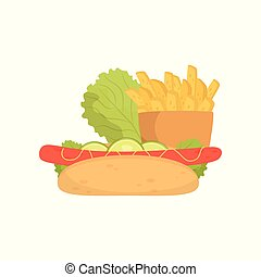 French fries, hot dog and lettuce, fast food dish vector Illustration on a white background