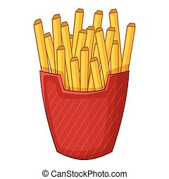 French fries icon, cartoon style