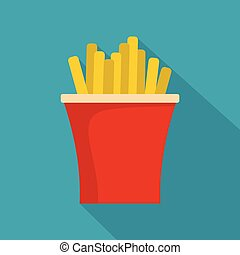French fries icon, flat style
