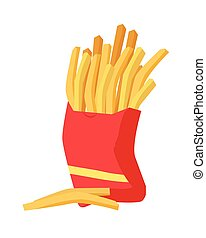 French Fries Icon - French fries icon. French fries in red...