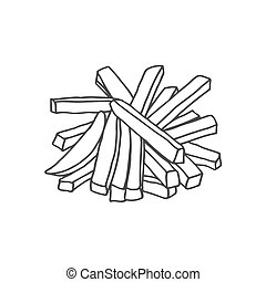 French fries illustration - French fries. Hand drawn sketch...